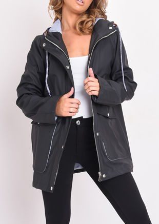 Waterproof Hooded Festival Rain Mac Coat Black