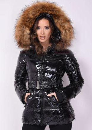 Wet Look Shinny Faux Fur Hooded Puffer Belted Coat Black