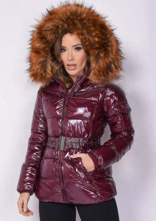 Wetlook Shinny Faux Fur Hooded Puffer Belted Coat Burgundy Red