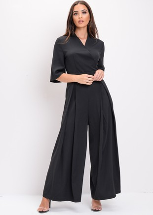 Wide Leg Culotte Jumpsuit Black