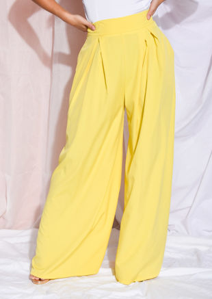 Wide Leg High Waisted Palazzo Trousers Yellow