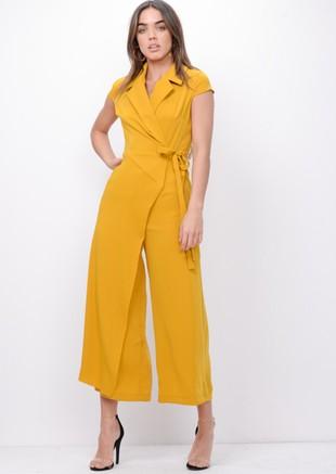 Wrap Front Tie Waist Jumpsuit Mustard Yellow