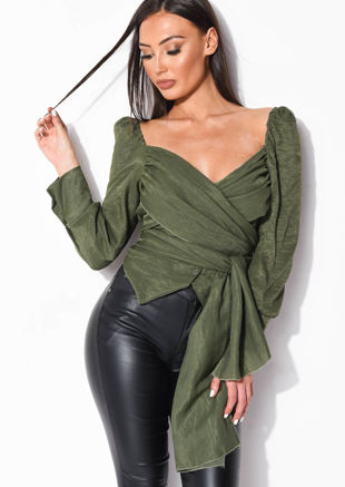 Wrap Over Button Front Shirt Top Green
