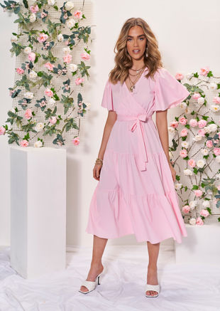 Wrap Over Frill Tiered Waist Tie Midi Dress Pink