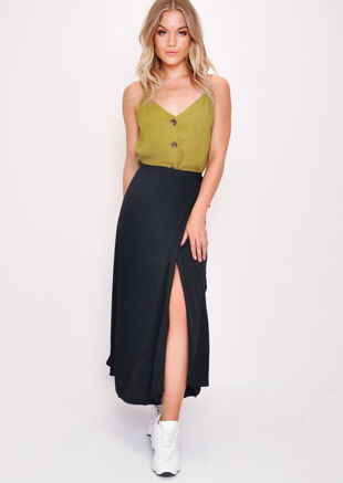 Wrap Thigh Split Midi Skirt Black