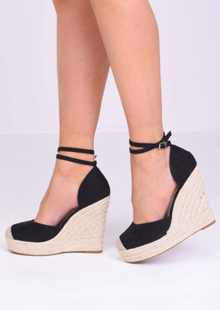 Faux Suede Lace Up Espadrille Wedge Sandals Black