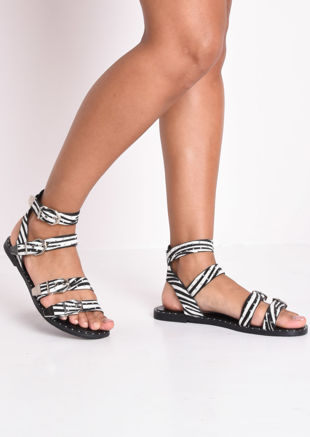 Zebra Print Studded Flat Sandals Multi