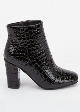 Zip Croc Patent Round Toe Ankle Boots Black