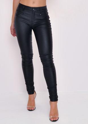 Zip Detail Wet Look Trousers Black