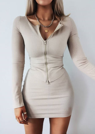 Zip Front Ribbed Cardigan Top Beige