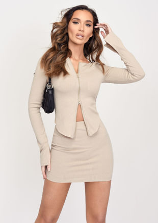 Zip Front Ribbed Cardigan Top Mini Skirt Co Ord Set Beige