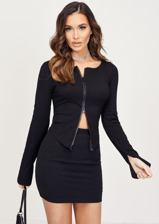 Zip Front Ribbed Cardigan Top Black