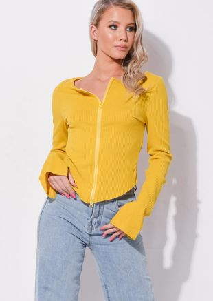 Zip Front Ribbed Cardigan Top Yellow