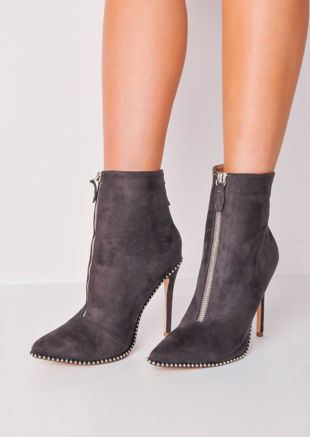 Zip Front Studded Stiletto Ankle Boots Grey