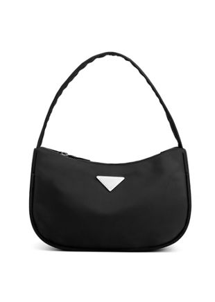 Zip Half Moon Mini Tote Bag Black