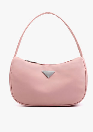 Nylon Zip Half Moon Mini Tote Bag Pink