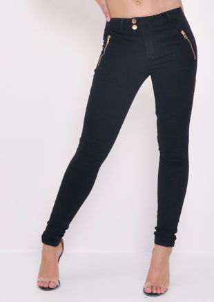 Zip Pockets Mid Rise Skinny Jeans Black