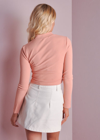 button up mini leather skirt white