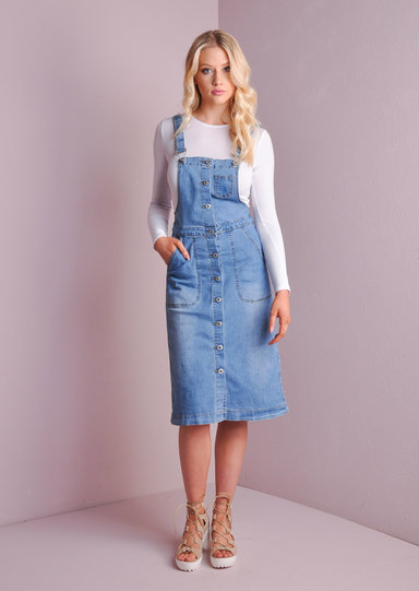 Retro Style Denim Pinafore Midi Dress Dungaree Blue