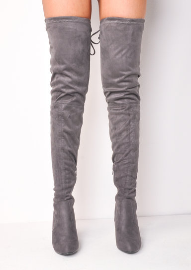 thigh high tie back faux suede knee high heeled boots
