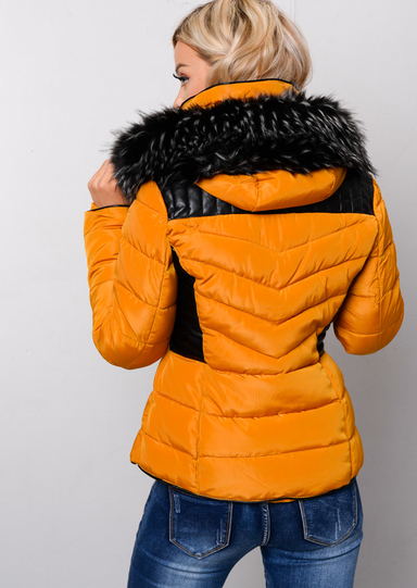 Faux Leather Panel Fur Hooded Padded Puffer Jacket Coat ...