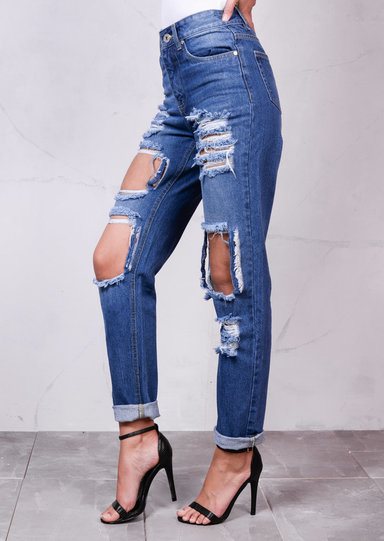 High Rise Extreme Ripped Detail Denim Mom Jeans Light Blue