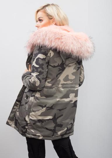 Pink Faux Fur Hooded Padded Parka Camo Khaki Coat Green