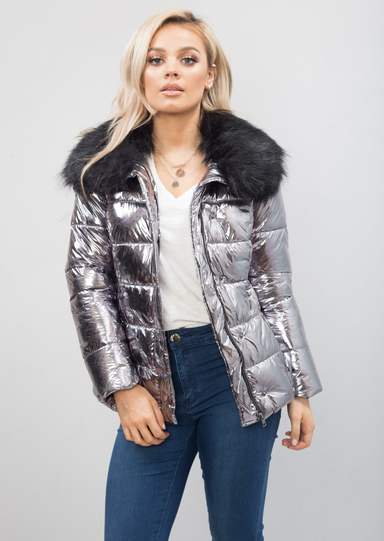 Quilted shiny hooded jacket coat sex fuck - 2 6