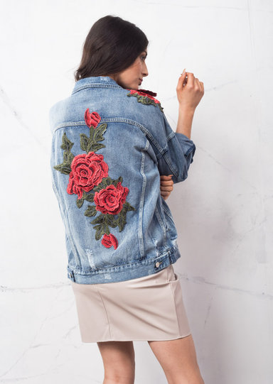 Oversized floral embroidered ripped boyfriend denim jacket
