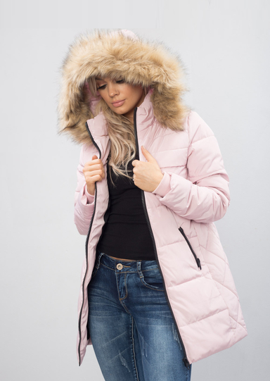 Padded Faux Fur Hooded Longline Puffer Coat Parka Pink