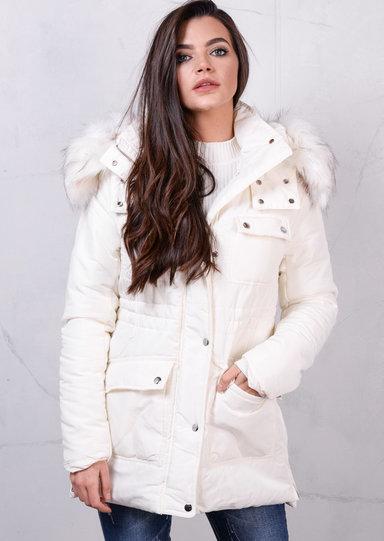 Faux Fur Hooded Padded Puffer Jacket Long Coat Cream White