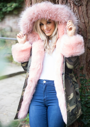 Pink Faux Fur Hooded With Cuffs Full Fleece Parka Camo