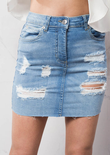 ripped mini bodycon denim skirt light blue