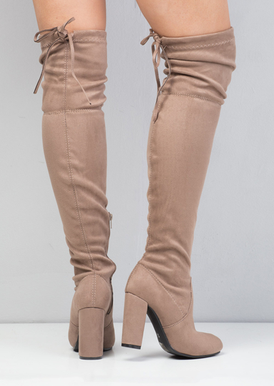 Thigh High Tie Back Faux Suede Knee High Heeled Boots Nude
