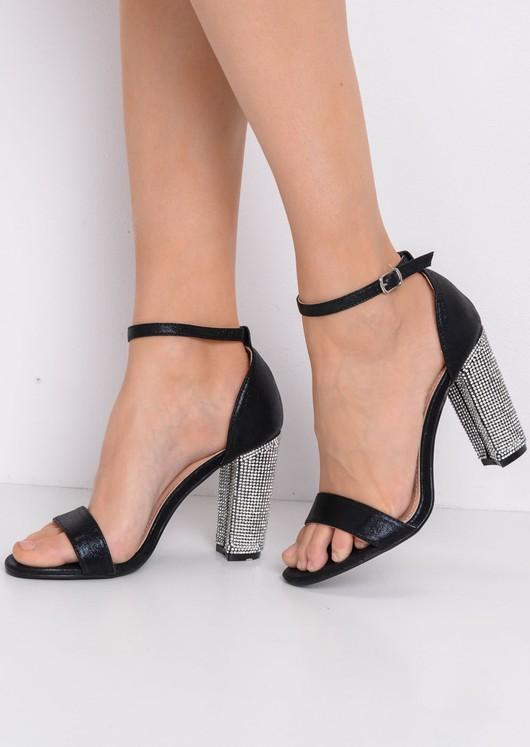 e43fc42f649a Glitter Diamante Block Heeled Ankle Strap Heeled Sandals Black