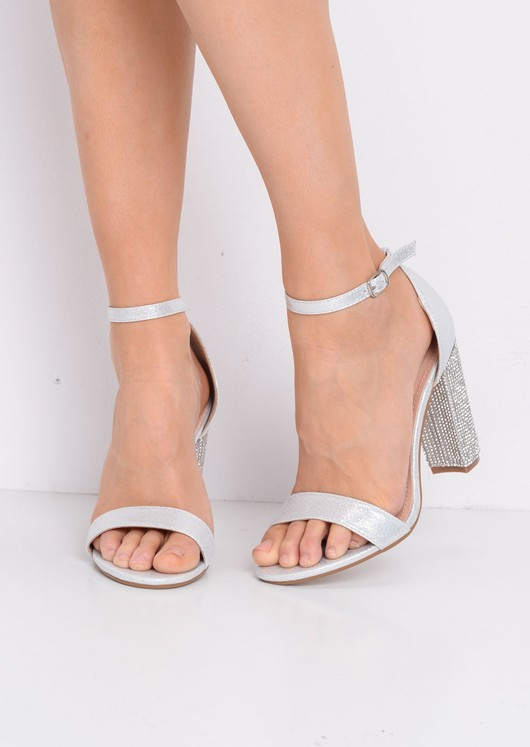 36a44ad229c6 Glitter Diamante Block Heeled Ankle Strap Heeled Sandals Silver