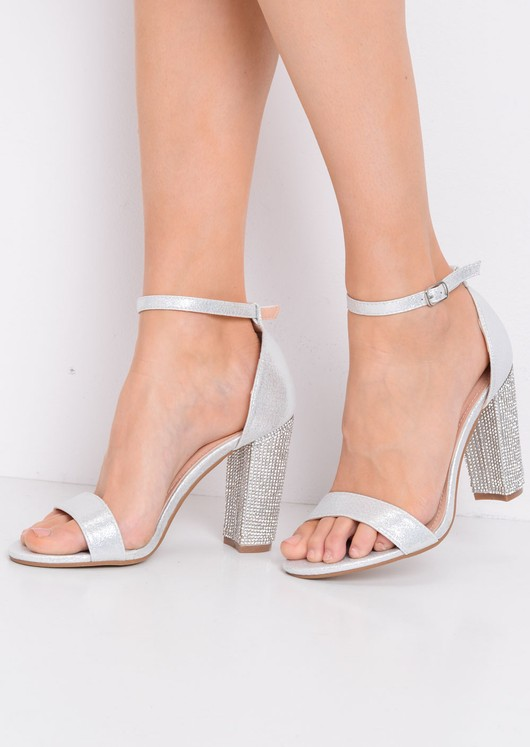 Glitter Diamante Block Heeled Ankle Strap Heeled Sandals Silver 860386516a7a