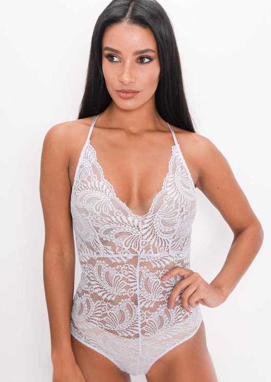 Plunge Sheer Lace Cross Back Bodysuit Lilac Purple
