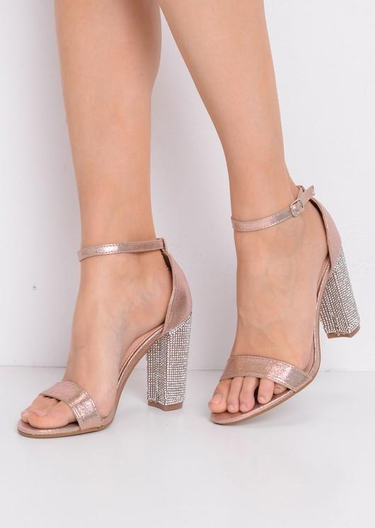 Glitter Diamante Heeled Ankle Strap