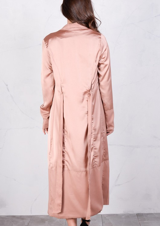 Longline Satin Duster Jacket Maxi Trench Coat Mocha Nude