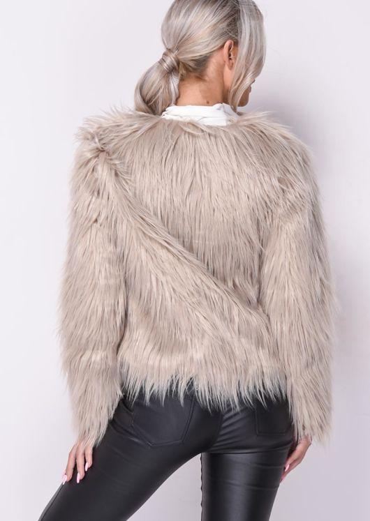 Shaggy Faux Fur Crop Jacket Coat Beige