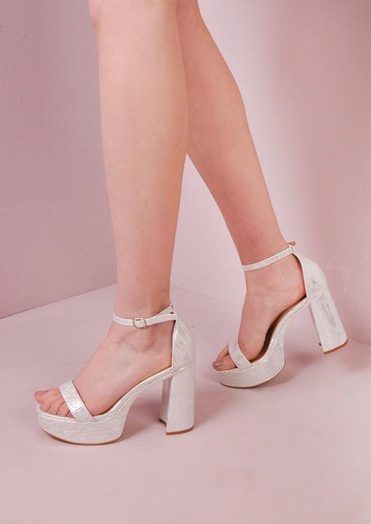 70's Chunky Heel Platform Shoes Silver