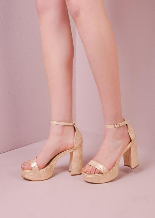 70's Chunky Heel Platform Shoes Gold