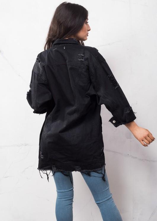 90s Oversized Longline Ripped Detail Boyfriend Denim Jacket Vintage Black