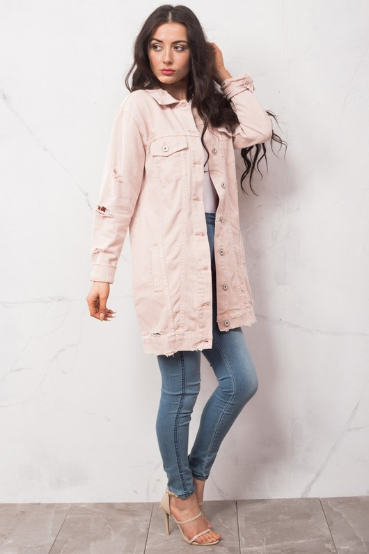 90s Oversized Longline Ripped Detail Boyfriend Denim Jacket Pink