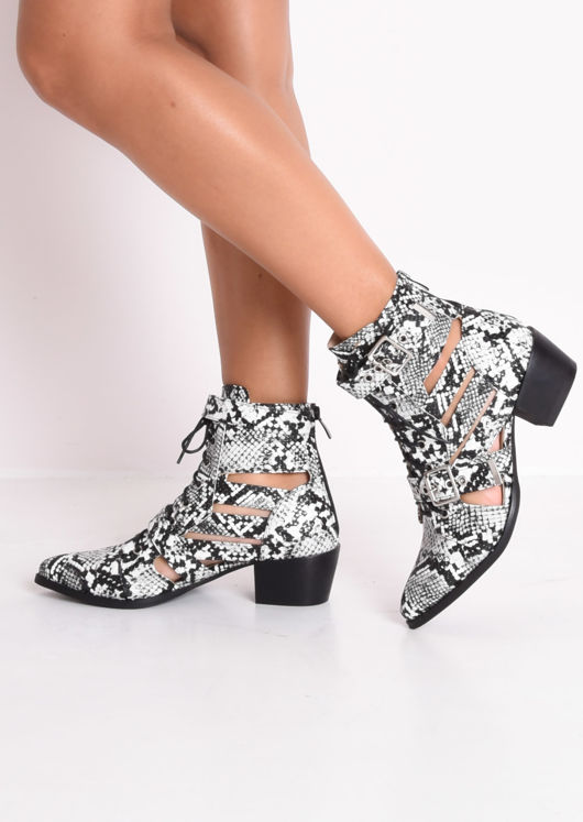 Snake Print Faux Leather Cut Out Pointed Ankle Boots Multi