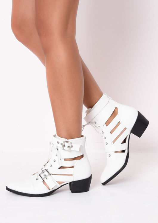 white cut out ankle boots