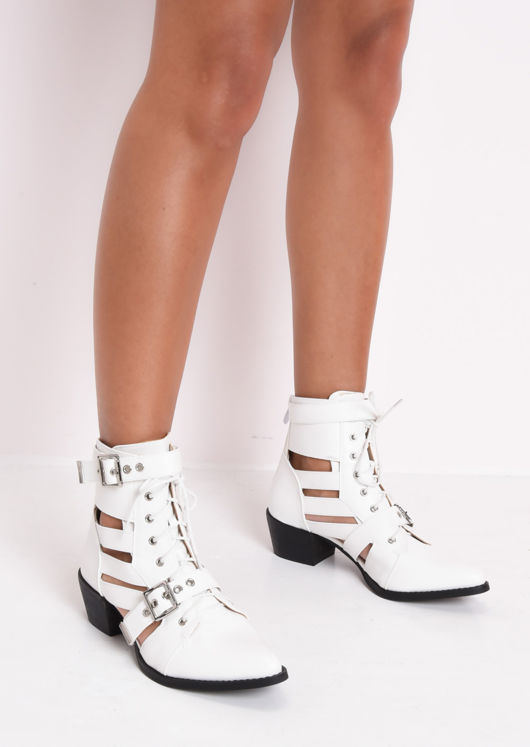 288f4e884e5 Faux Leather Cut Out Pointed Ankle Boots White
