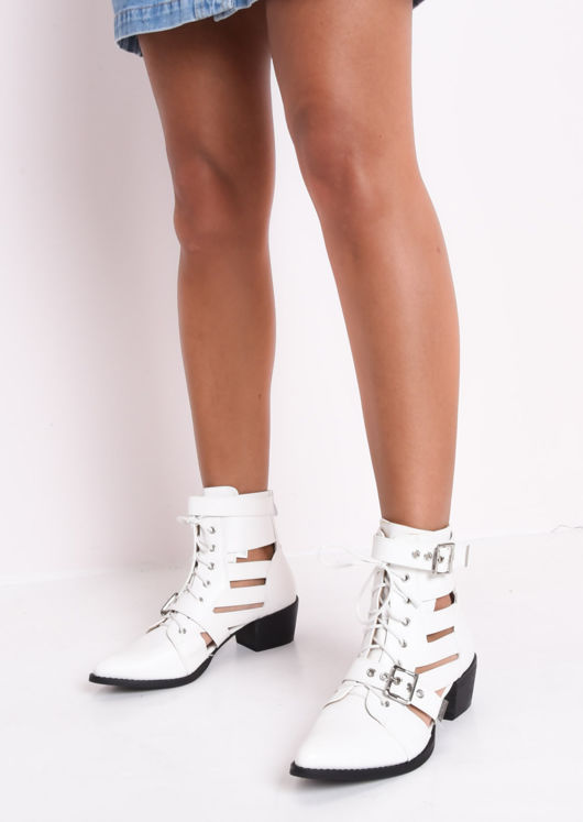 48e495f2dd0 Faux Leather Cut Out Pointed Ankle Boots White