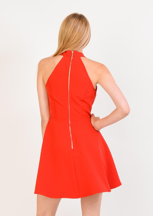 Aliya Red Keyhole Halterneck Dress